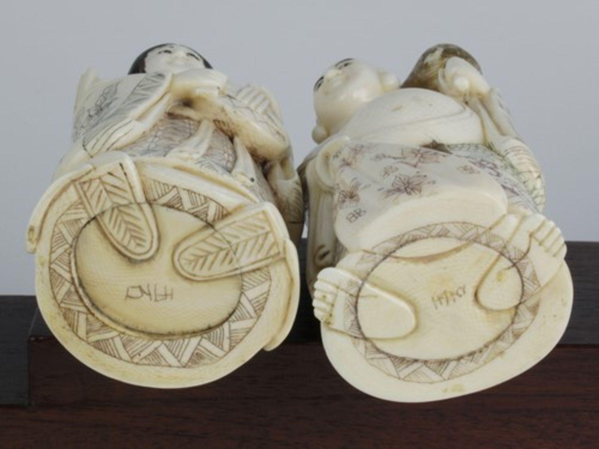 Figurengruppe - Chinaum 1920, 7x vollplastische Elfenbein-Schnitzereien, partiell geschwärzt, - Bild 15 aus 24