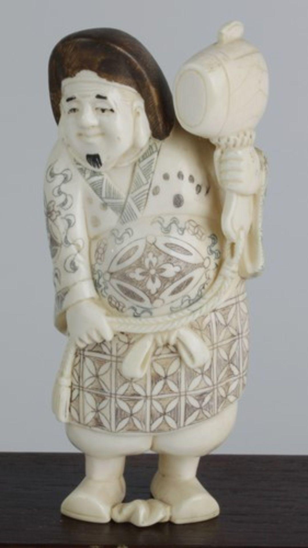 Figurengruppe - Chinaum 1920, 7x vollplastische Elfenbein-Schnitzereien, partiell geschwärzt, - Bild 23 aus 24
