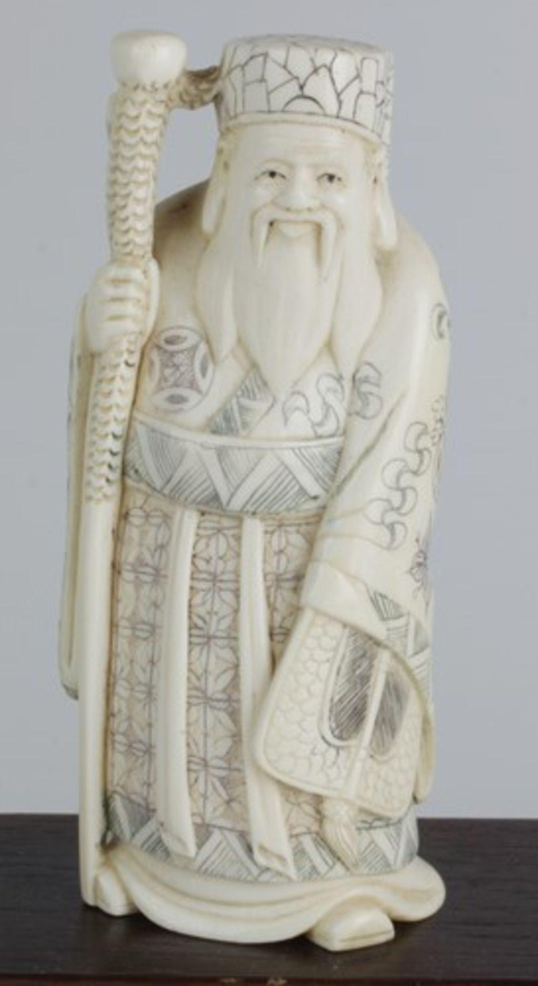 Figurengruppe - Chinaum 1920, 7x vollplastische Elfenbein-Schnitzereien, partiell geschwärzt, - Bild 20 aus 24
