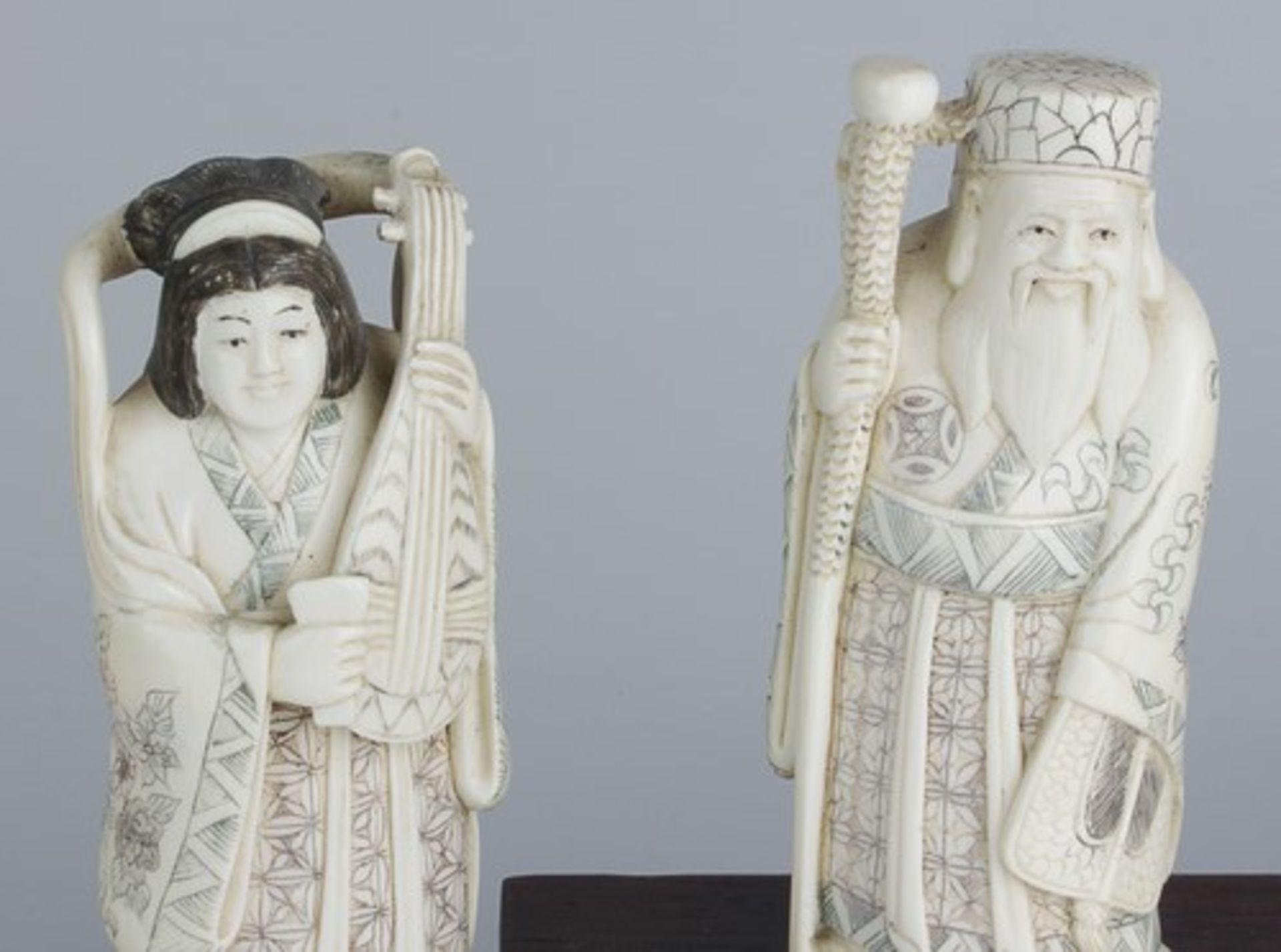 Figurengruppe - Chinaum 1920, 7x vollplastische Elfenbein-Schnitzereien, partiell geschwärzt, - Bild 19 aus 24