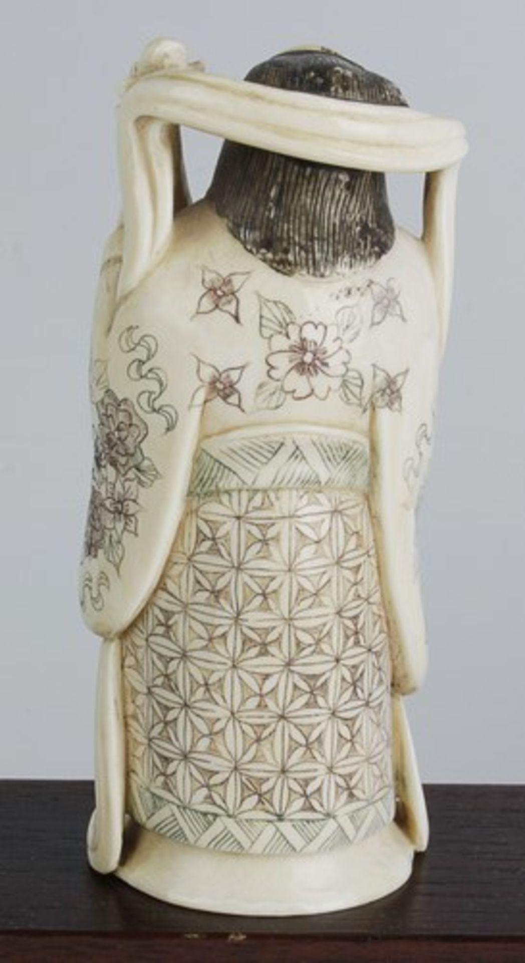 Figurengruppe - Chinaum 1920, 7x vollplastische Elfenbein-Schnitzereien, partiell geschwärzt, - Bild 10 aus 24