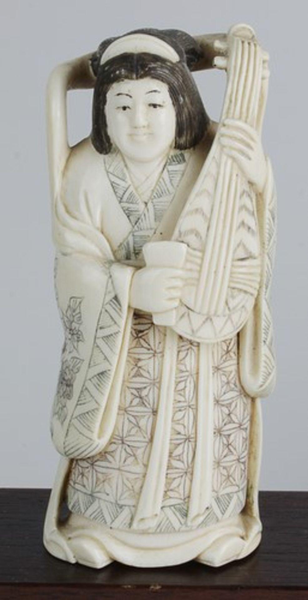 Figurengruppe - Chinaum 1920, 7x vollplastische Elfenbein-Schnitzereien, partiell geschwärzt, - Bild 9 aus 24