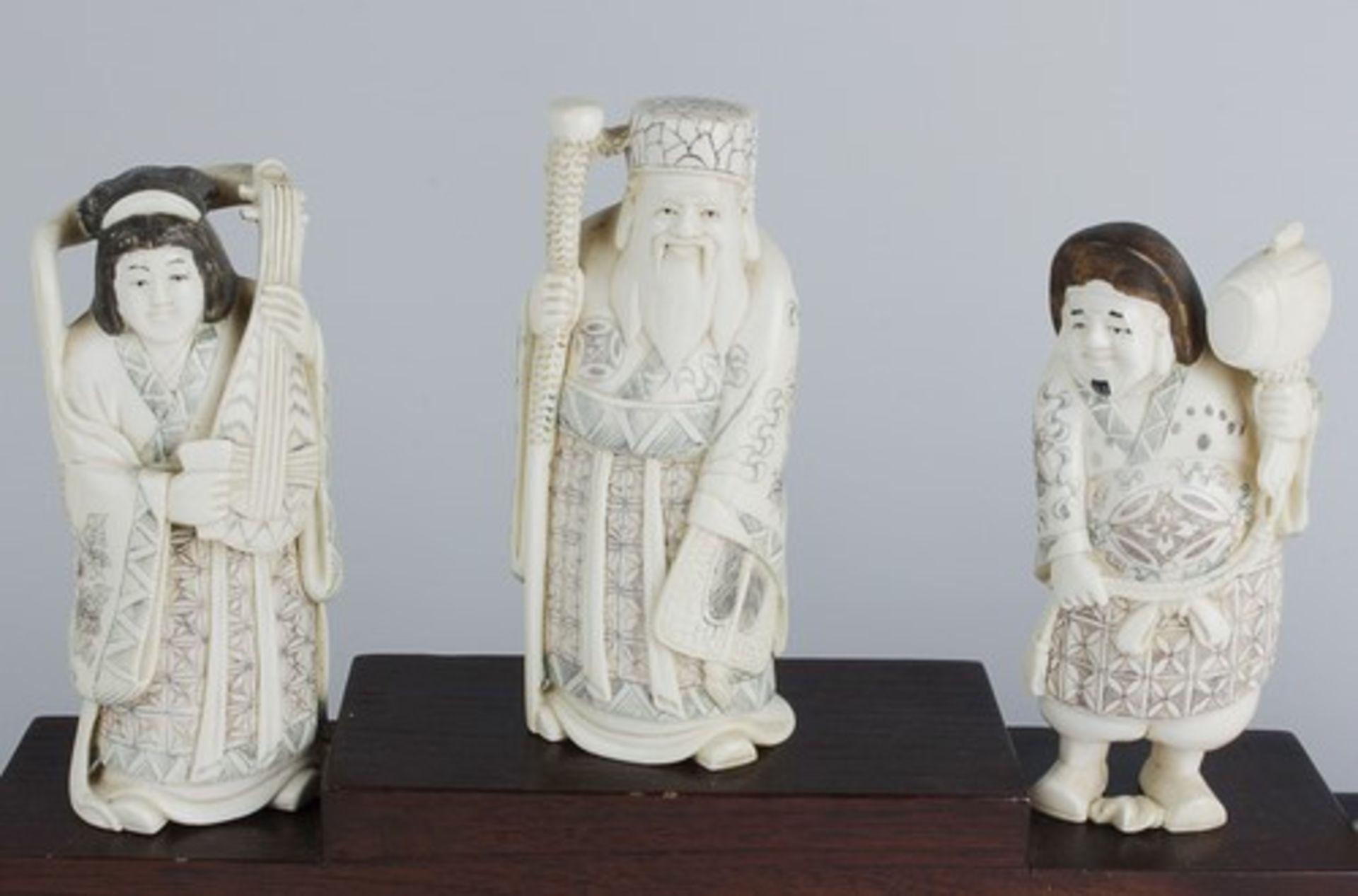 Figurengruppe - Chinaum 1920, 7x vollplastische Elfenbein-Schnitzereien, partiell geschwärzt, - Bild 2 aus 24