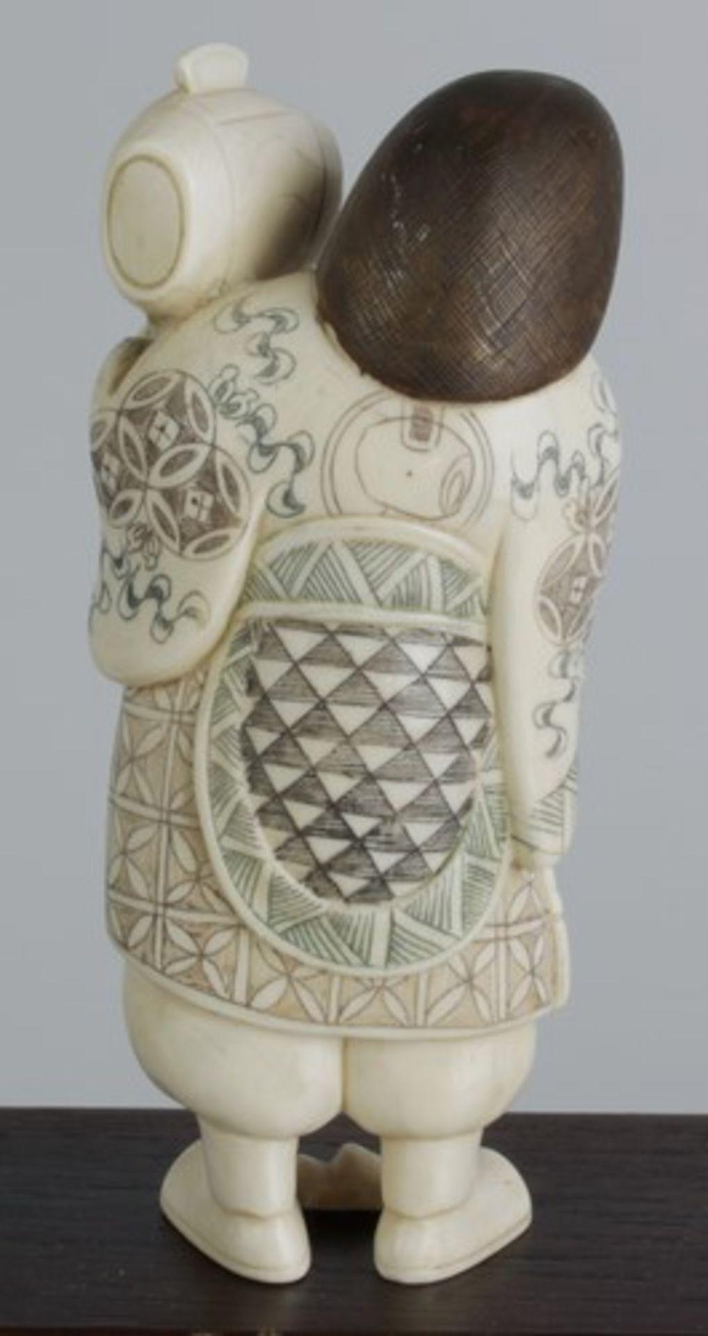 Figurengruppe - Chinaum 1920, 7x vollplastische Elfenbein-Schnitzereien, partiell geschwärzt, - Bild 24 aus 24