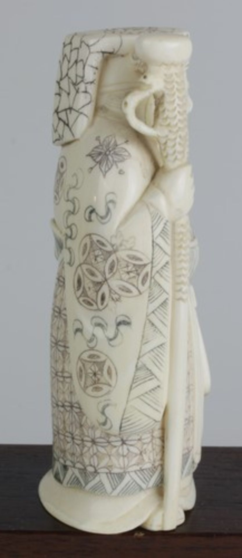Figurengruppe - Chinaum 1920, 7x vollplastische Elfenbein-Schnitzereien, partiell geschwärzt, - Bild 22 aus 24