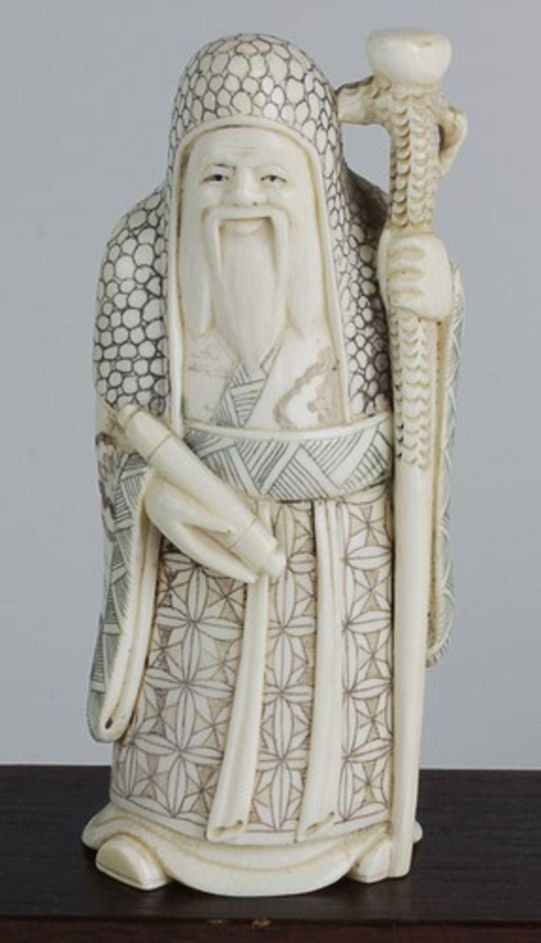 Figurengruppe - Chinaum 1920, 7x vollplastische Elfenbein-Schnitzereien, partiell geschwärzt, - Bild 3 aus 24