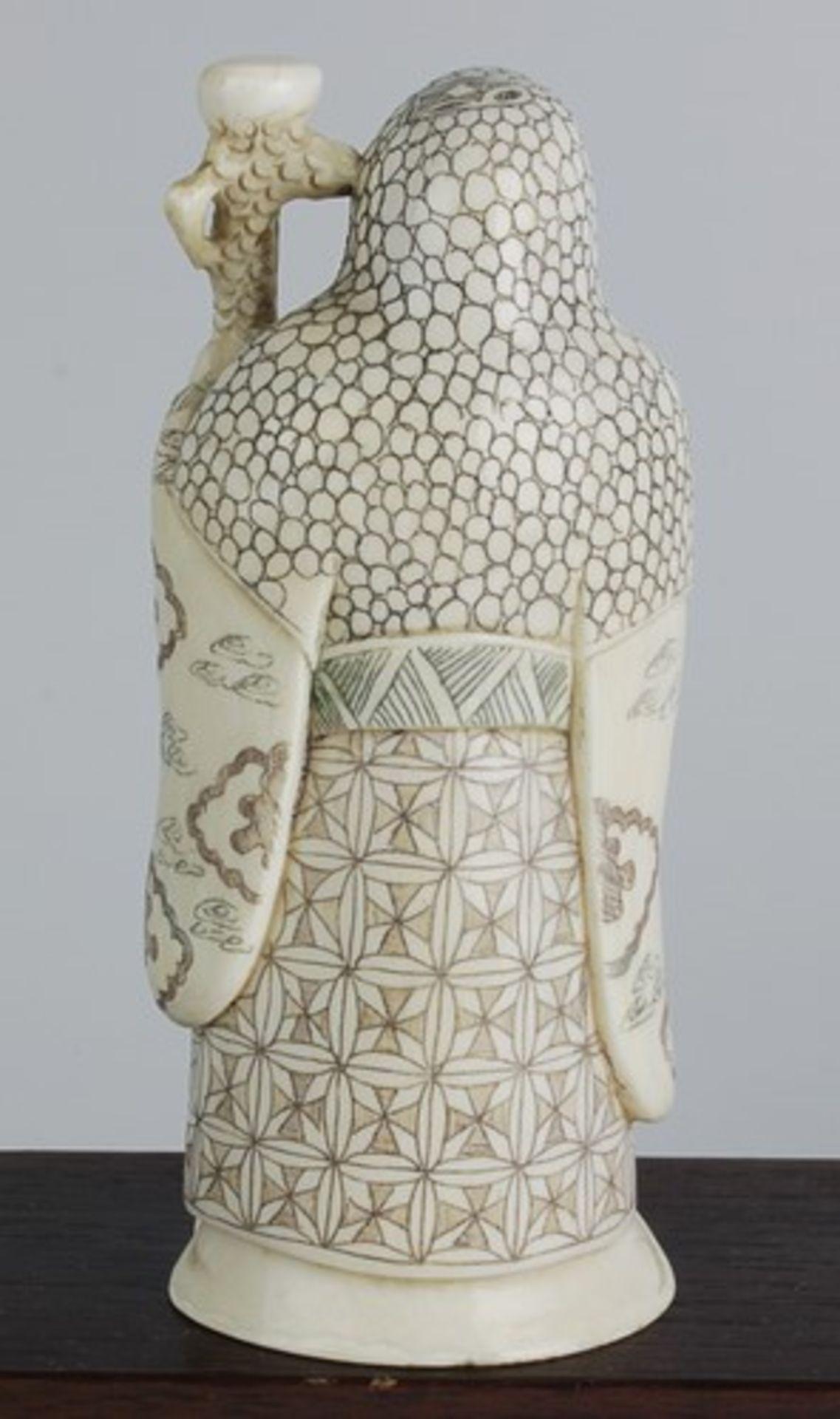 Figurengruppe - Chinaum 1920, 7x vollplastische Elfenbein-Schnitzereien, partiell geschwärzt, - Bild 4 aus 24