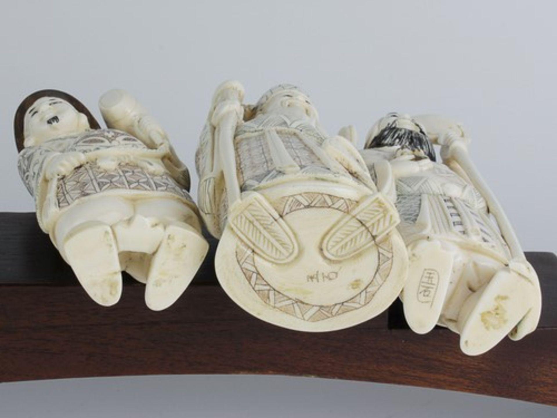 Figurengruppe - Chinaum 1920, 7x vollplastische Elfenbein-Schnitzereien, partiell geschwärzt, - Bild 16 aus 24