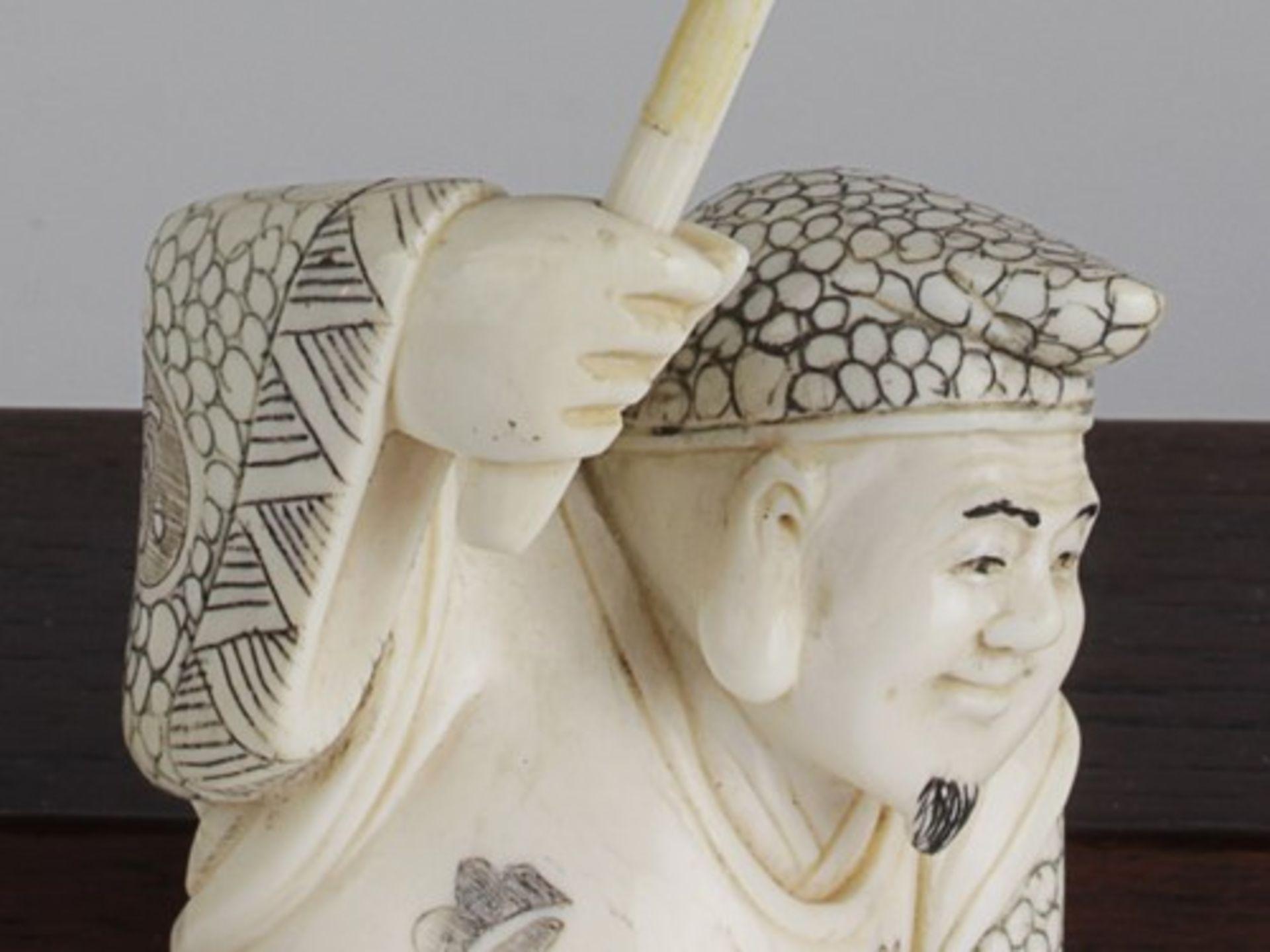 Figurengruppe - Chinaum 1920, 7x vollplastische Elfenbein-Schnitzereien, partiell geschwärzt, - Bild 14 aus 24
