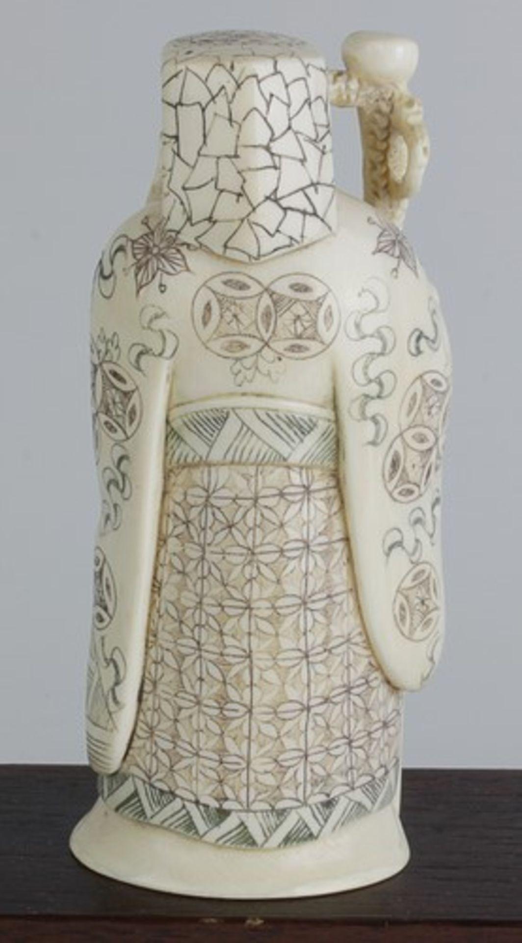 Figurengruppe - Chinaum 1920, 7x vollplastische Elfenbein-Schnitzereien, partiell geschwärzt, - Bild 21 aus 24