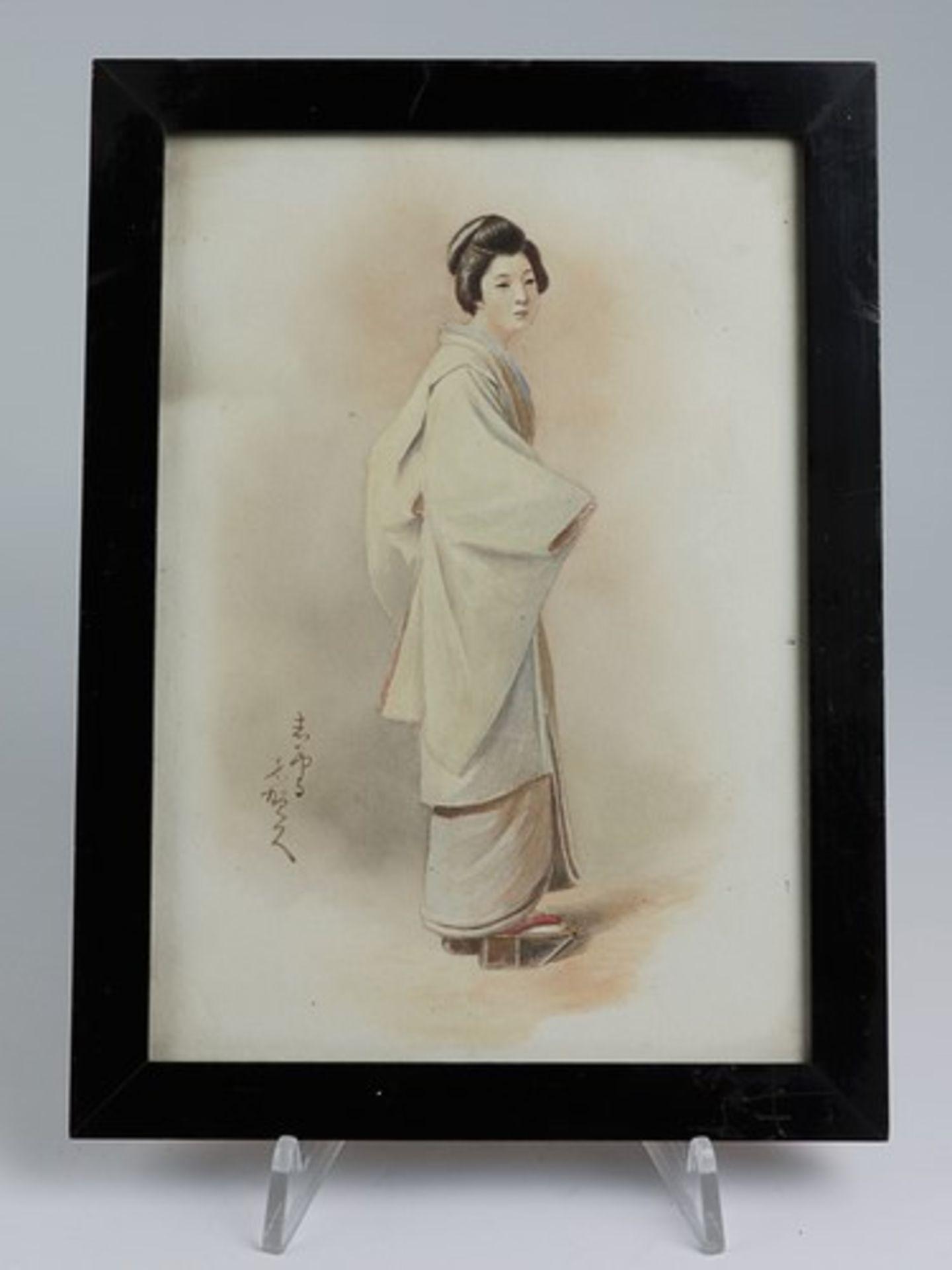 Los 1819 - Aquarell - Japanum 1910/20, japanische Dame in traditioneller Kleidung, l. sign., RhG, Ra.