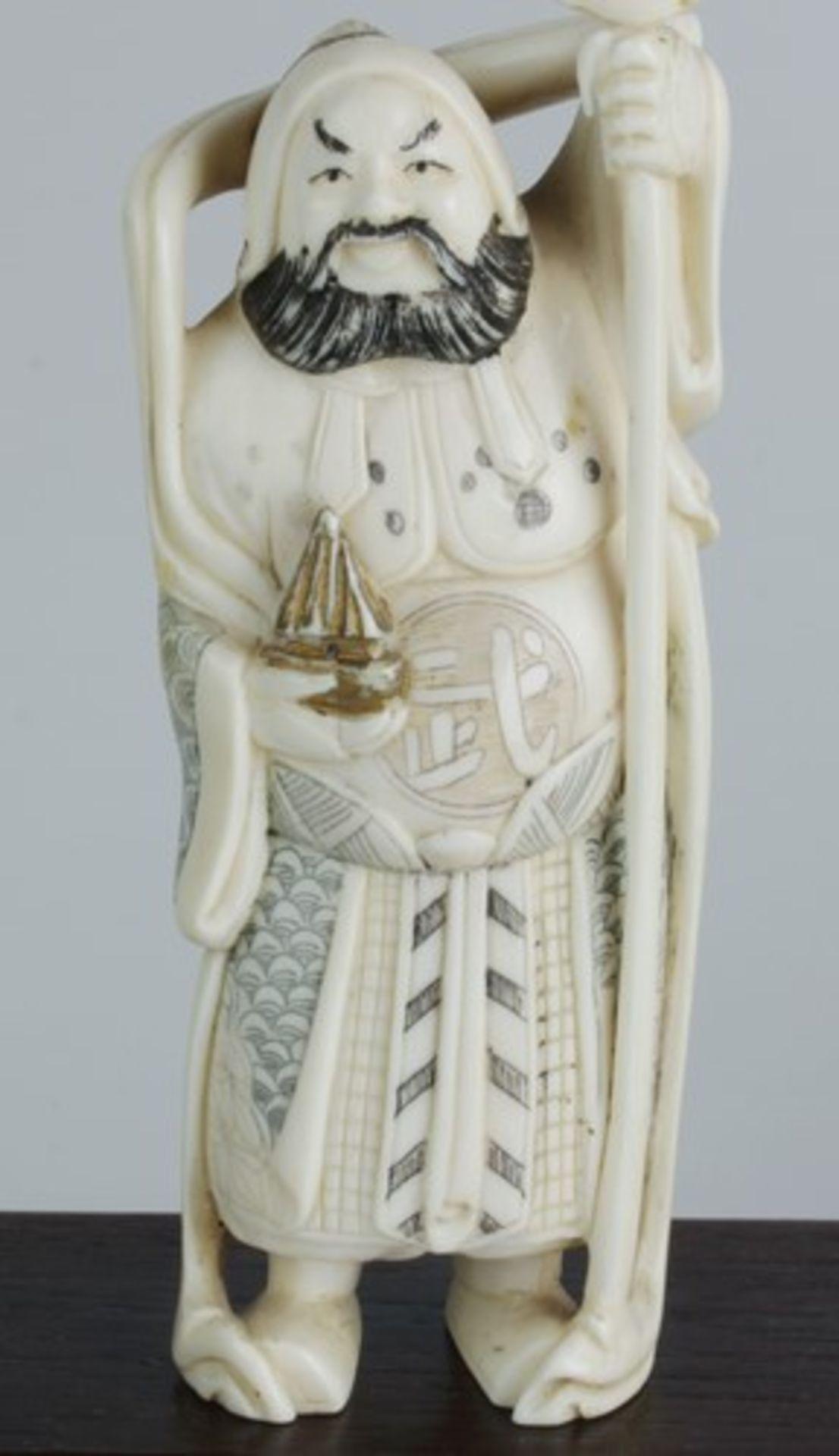 Figurengruppe - Chinaum 1920, 7x vollplastische Elfenbein-Schnitzereien, partiell geschwärzt, - Bild 5 aus 24