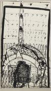 Sonderborg, K. R. H. 1923 Sonderborg - 2008 Hamburg, bürgerl. Kurt Rudolf Hofmann, einer der wichtigsten Maler der Kunstrichtung Informel, Lithographie, Architektonische Komposition, Nr. 60/100 Expl. sign. u. dat. 1968, ca. 84x48,5cm