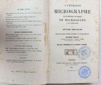 MikroskopieL'étudiant Micrographe et des préparations par Arthur Chevalier. Ovrage orn' de