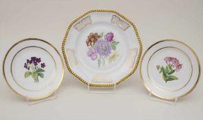 Konvolut 3 Zierteller mit Blumenmalerei / A set of 3 plates with flowers, Rosenthal u.a., 19./20.
