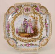Prunkteller mit galanter Szene / A splendid plate with a galant scene, Frankreich, um