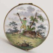 Deckeldose / Tabatiere mit Jagdszene und Napoleon / A snuff box with a hunting scene and Napoleon,