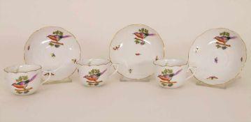 3 Mokkatassen mit UT / 3 mocha cups and saucers, Herend, Ungarn, 1. Hälfte 20. Jh.Material: