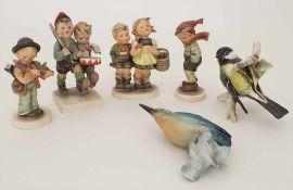 Konvolut 2 Vogel- und 4 Hummelfiguren / A set of 2 birds and 4 Hummel figures, Goebel, 1940-1980er