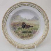 Teller mit Kampfläufer / A plate with a ruff (bird), Flora Danica, Royal Copenhagen, 20. Jh.