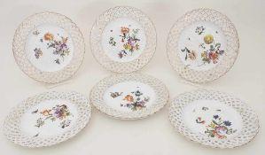6 Korb-Teller / 6 plates, Meissen, um 1750