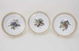 3 Korb-Teller / 3 plates, Meissen, 19. Jh.