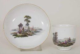 Tasse und UT mit Uferlandschaften / A tea bowl and saucer with river landscapes, Meissen, um