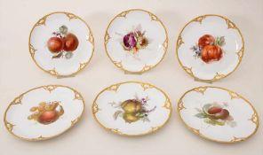 6 Teller mit Früchtemalerei / A set of 6 plates with fruits, KPM, Berlin, um 1900