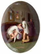 Erotika-Porzellanbild 'Liebesspiel' / An erotica porcelain plate 'amorous play', KPM Berlin, um