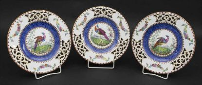 3 Durchbruchteller mit Vogeldekor / 3 breakthrough bird plates, Copeland, Spode, England,