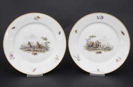 Paar Teller mit Schlachtenszenen / 2 plates with battle scenes, Sèvres, 1870