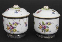 Paar Deckelgefäße mit Silbermontur / A pair of lidded bowls with silver mounts, wohl Frankreich,
