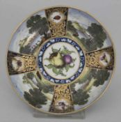 Frühe Unterschale / An early first period dish with landscapes and fruits, Worcester, um 1755-