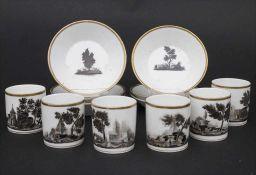 6 Empire Tassen und Untertassen mit Landschaften / 6 Empire cups and saucers with landscapes, Paris,