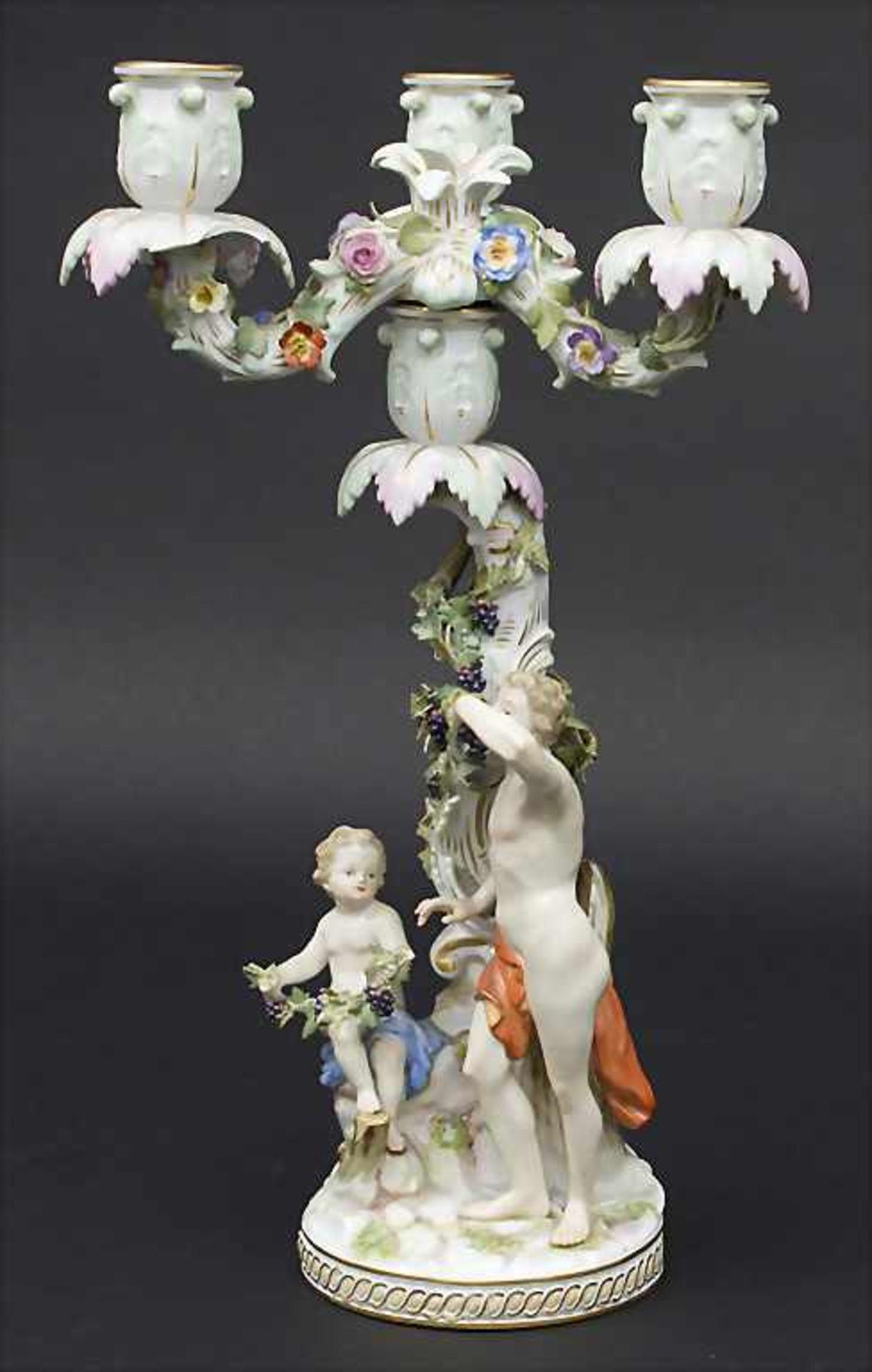 Dreiflammiger Leuchter Allegorie 'Der Herbst' / An allegorical candleholder 'The Autumn', Meissen, - Bild 2 aus 9
