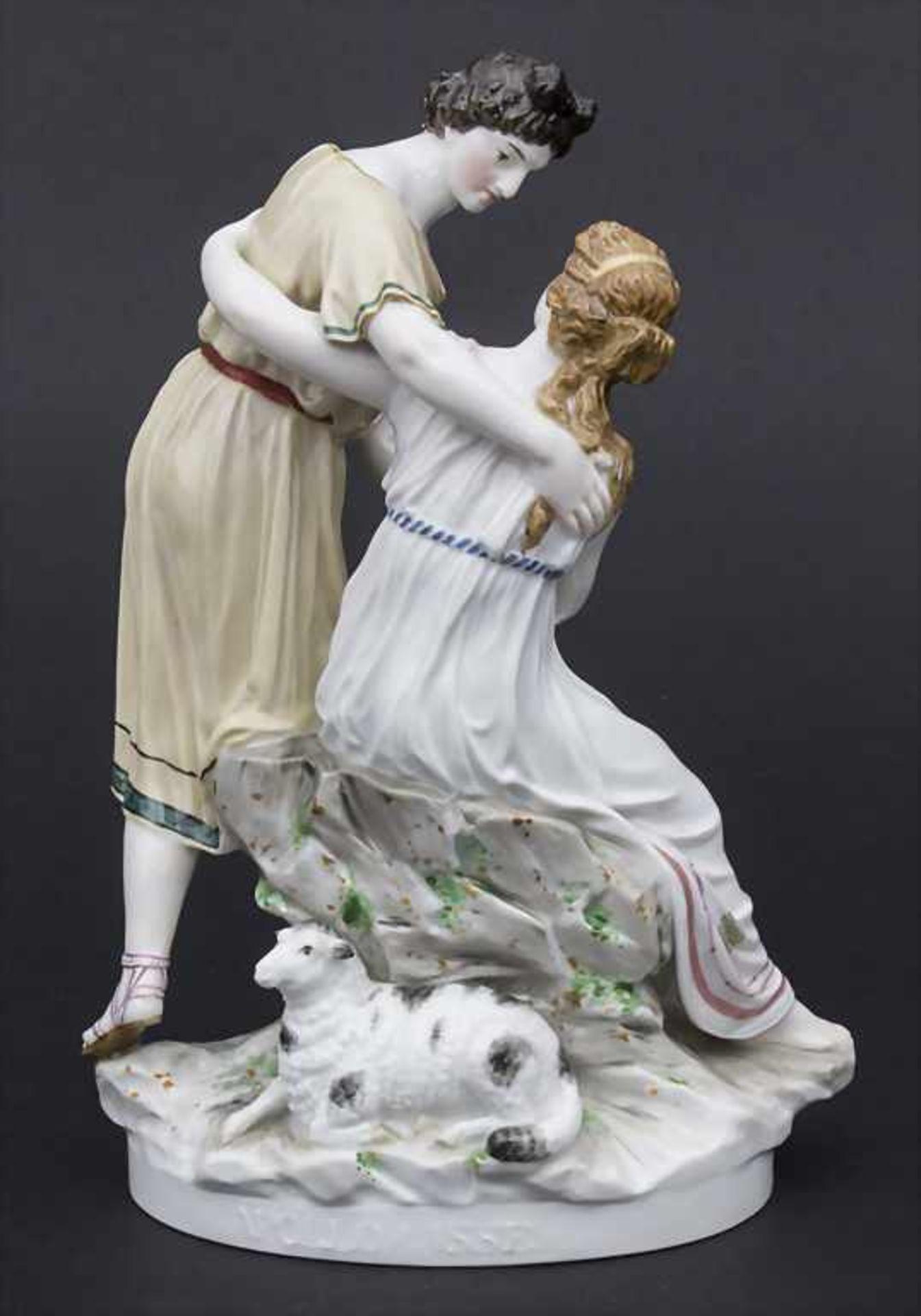 Jugendstil Darstellung 'Apollo und Isse' mit einem Schaf / An Art Nouveau figural group of 'Apollo - Bild 3 aus 9