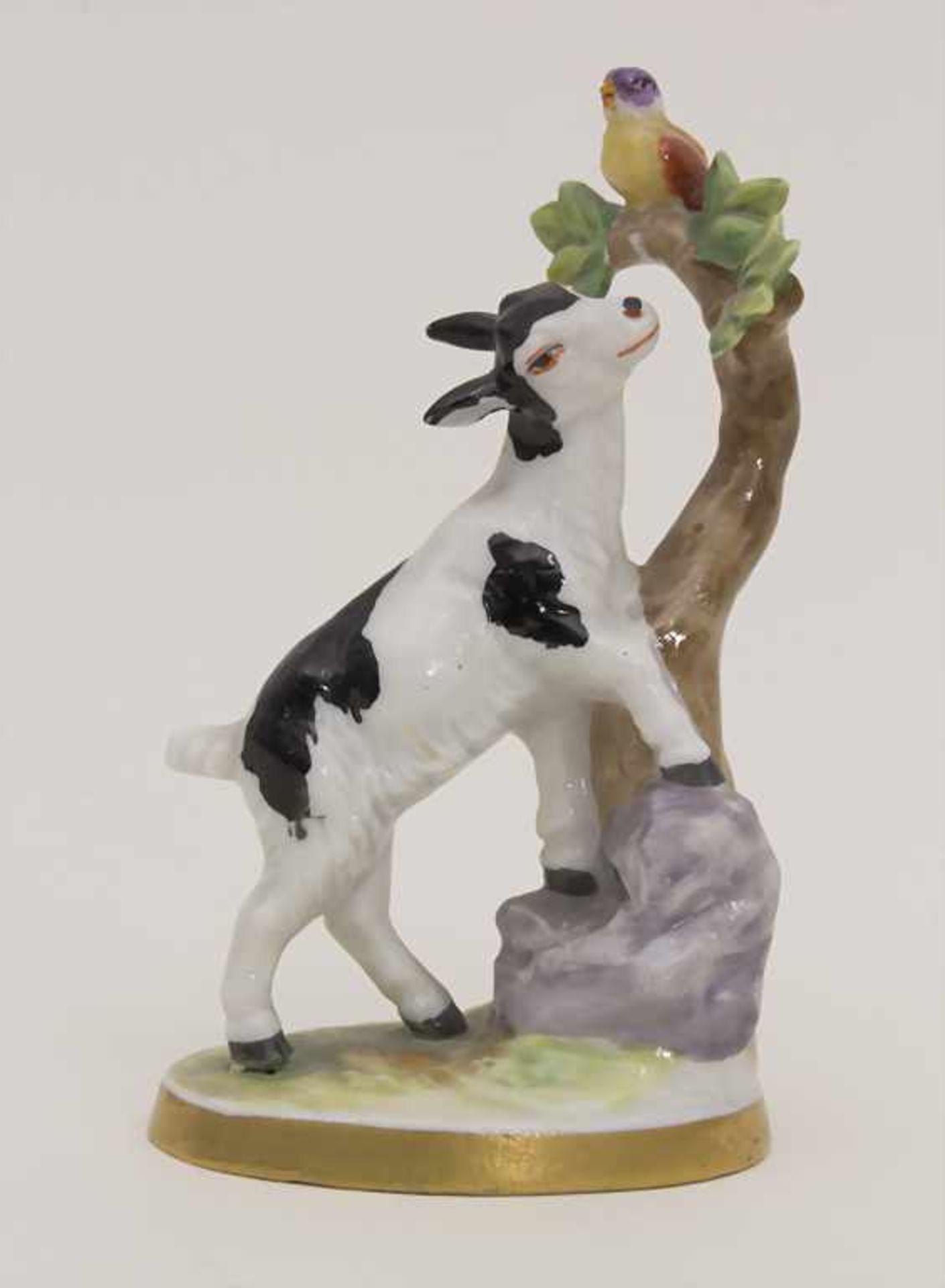 Miniaturfigur Zicklein mit Vogel / A miniature figurine of a kid with a bird, Müller & Co.,