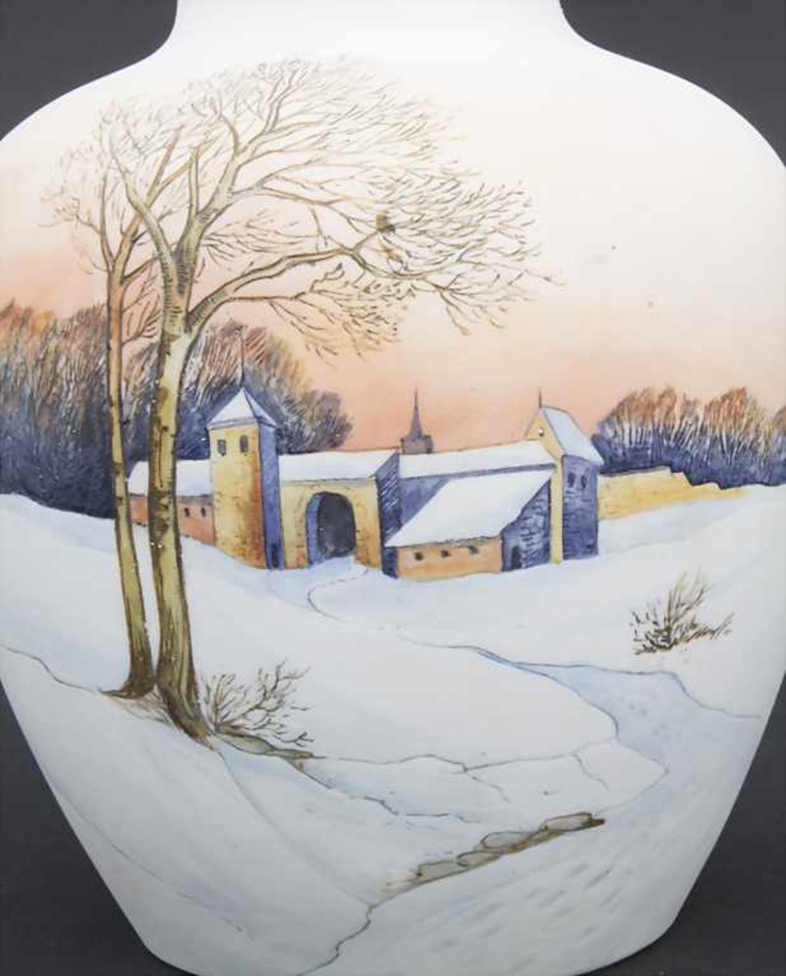 Vase mit Winterlandschaft / A vase with a winter landscape, Karl Ens, Volkstedt, um 1900 - Bild 6 aus 6