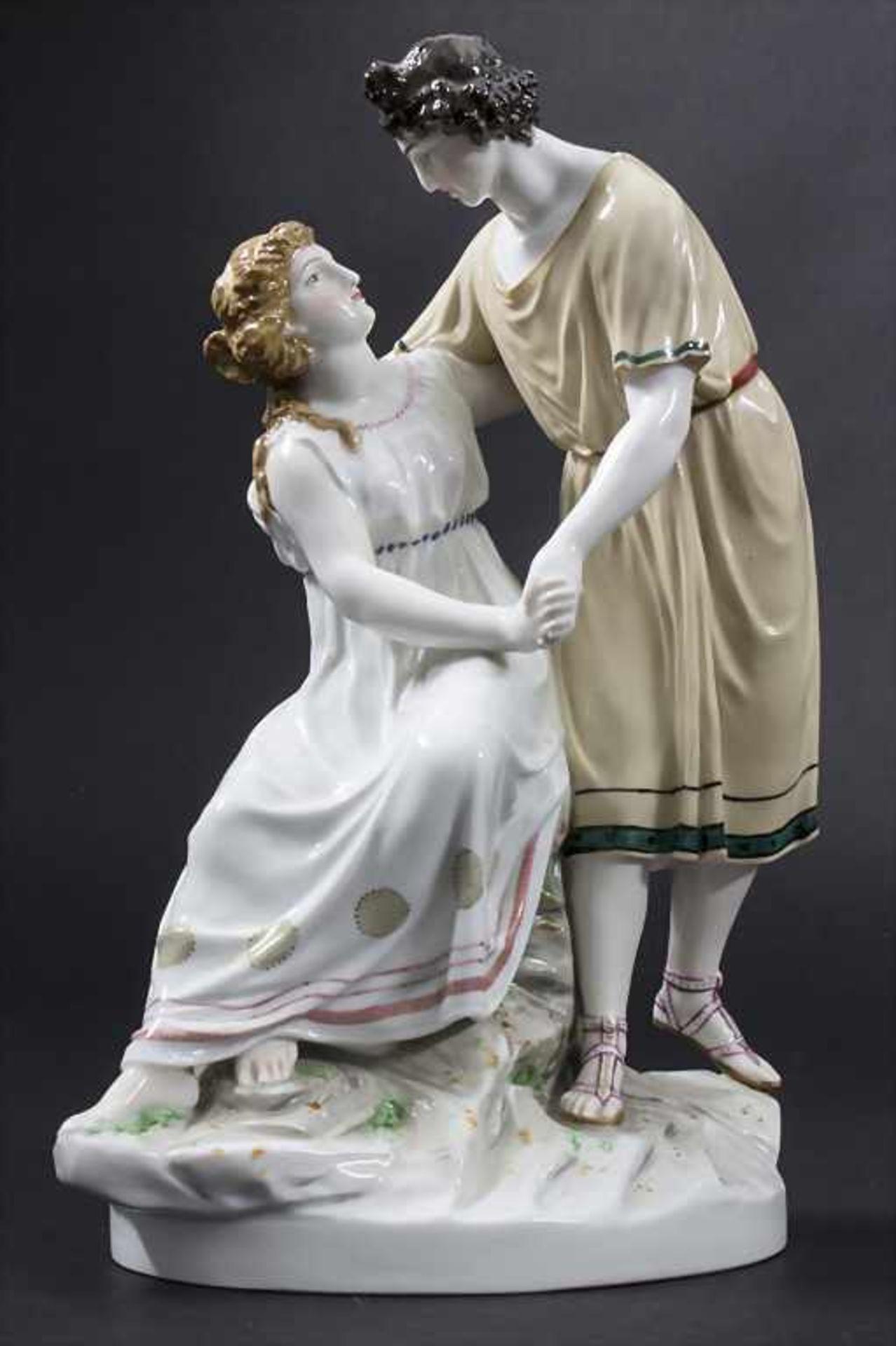 Jugendstil Darstellung 'Apollo und Isse' mit einem Schaf / An Art Nouveau figural group of 'Apollo