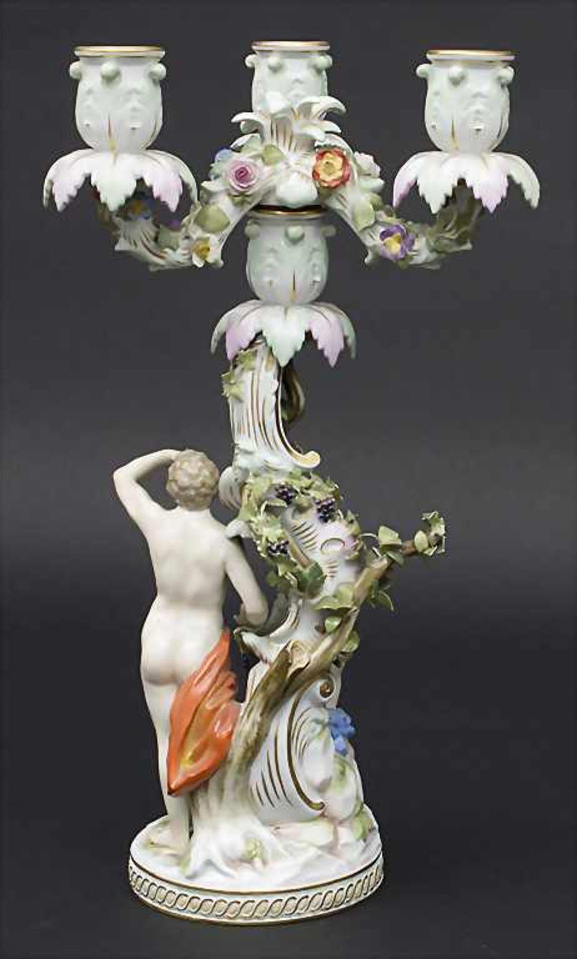 Dreiflammiger Leuchter Allegorie 'Der Herbst' / An allegorical candleholder 'The Autumn', Meissen, - Bild 3 aus 9