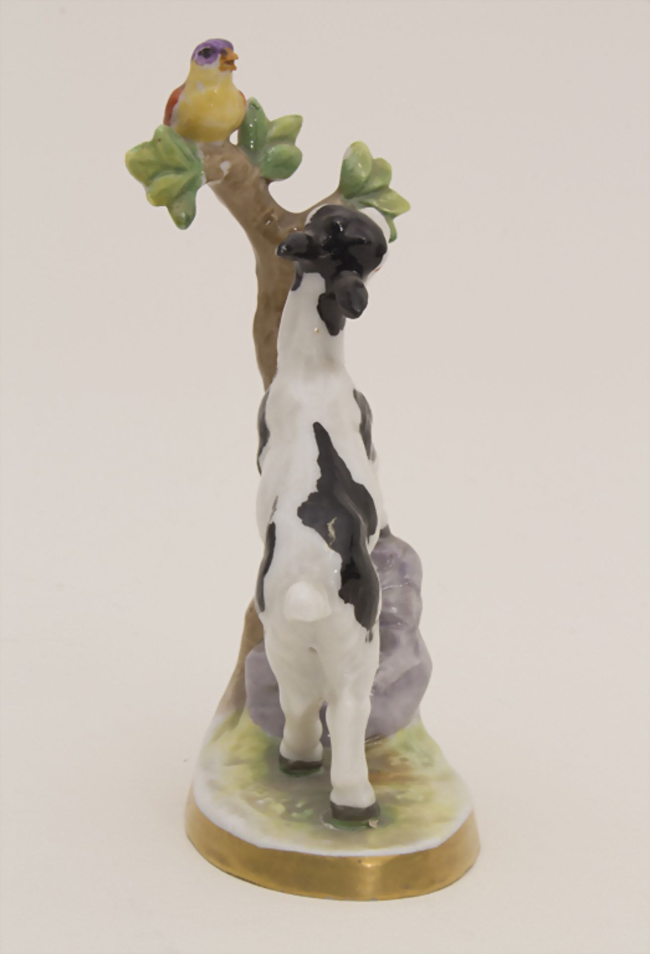 Miniaturfigur Zicklein mit Vogel / A miniature figurine of a kid with a bird, Müller & Co., - Bild 4 aus 5
