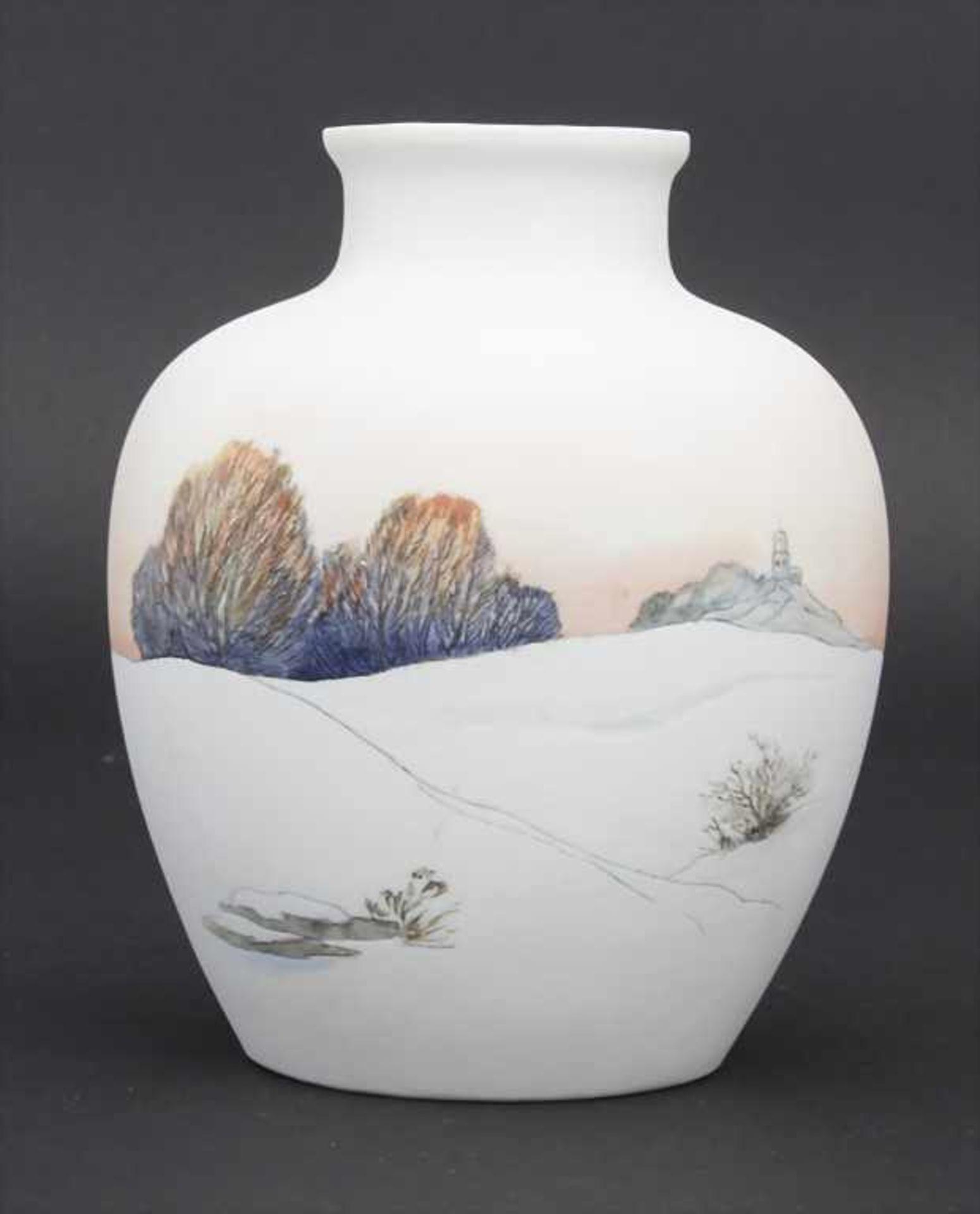 Vase mit Winterlandschaft / A vase with a winter landscape, Karl Ens, Volkstedt, um 1900 - Bild 2 aus 6