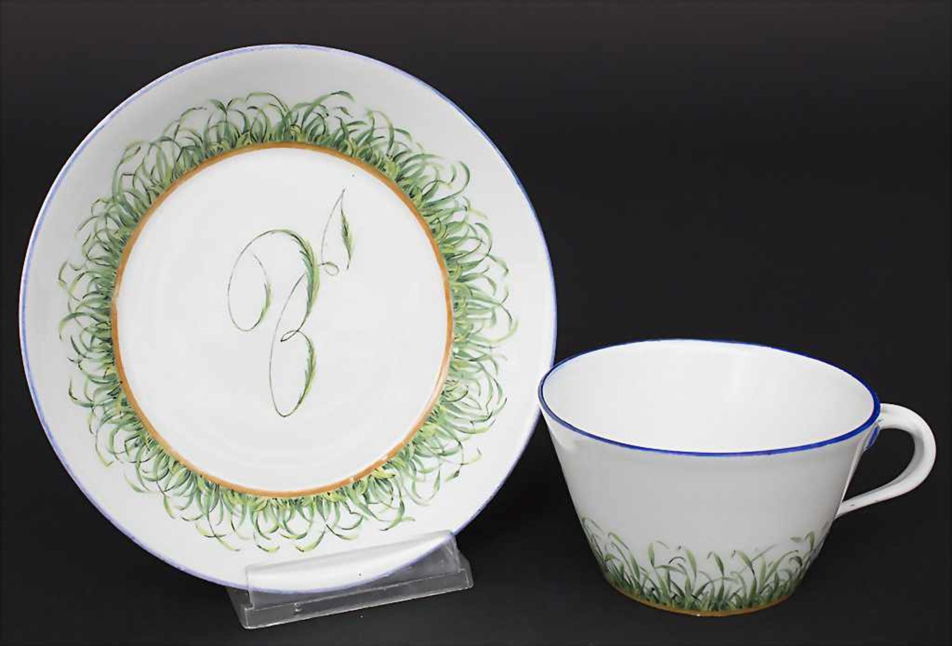 Tasse und UT mit Monogramm / A cup with saucer with monogram, Meissen, Anfang 19. Jh.