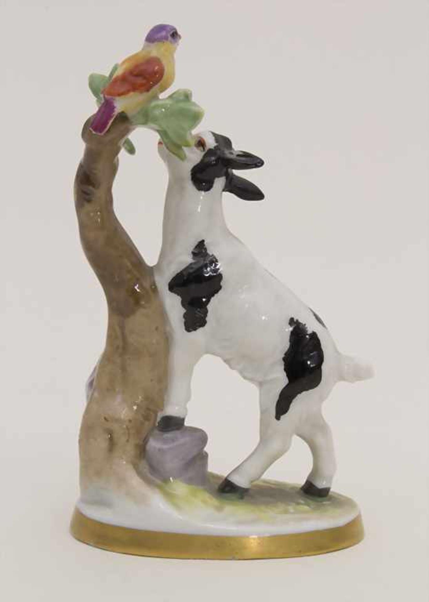 Miniaturfigur Zicklein mit Vogel / A miniature figurine of a kid with a bird, Müller & Co., - Bild 3 aus 5