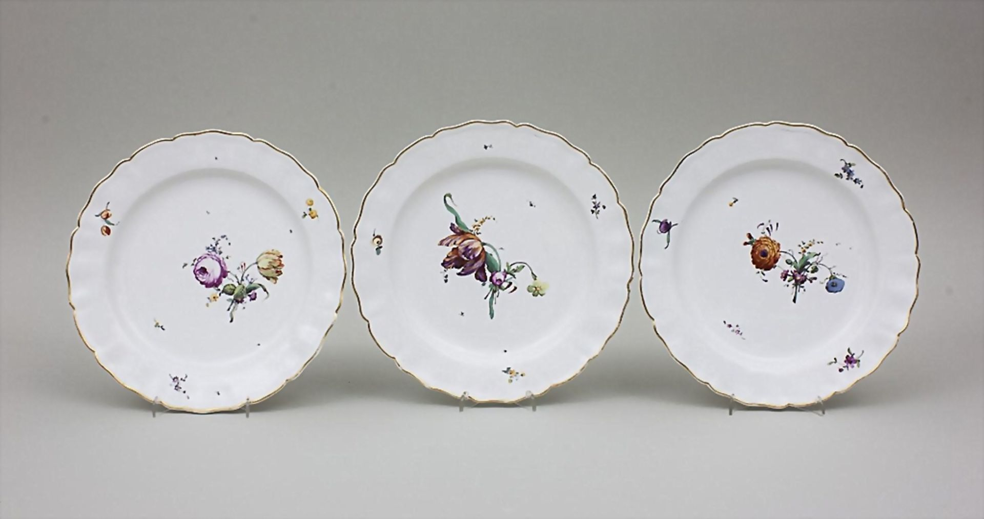 6 Teller mit Blumendekor / A Set Of 6 Dinner Plates With Flowers, Churfürstl. Mainzische Manufaktur, - Bild 2 aus 4