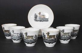 6 einfache Teeschalen mit Untertassen / 6 tea bowls and saucers, 19. Jh.