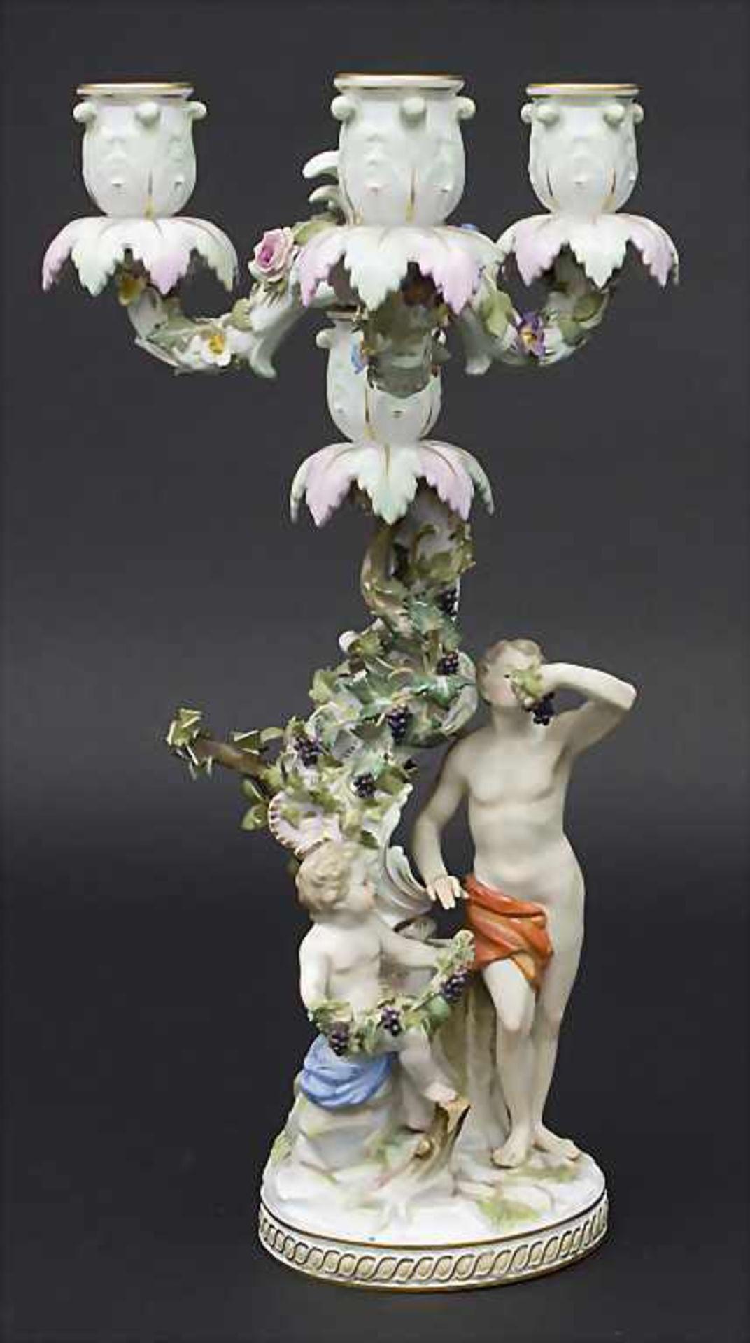 Dreiflammiger Leuchter Allegorie 'Der Herbst' / An allegorical candleholder 'The Autumn', Meissen,