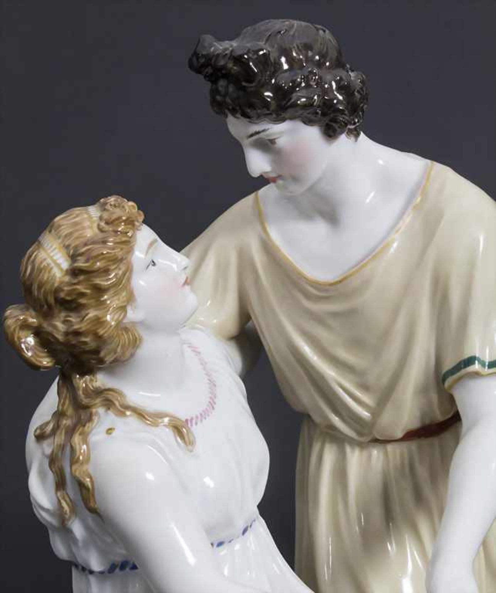 Jugendstil Darstellung 'Apollo und Isse' mit einem Schaf / An Art Nouveau figural group of 'Apollo - Bild 7 aus 9