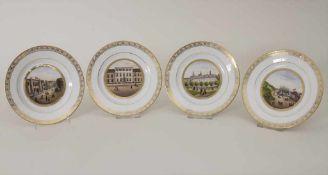 4 Teller mit Ansichten von Hamburg / 4 decorative plates with views of Hamburg, deutsch, 1. Hälfte