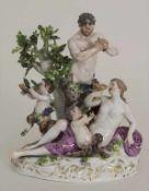Figurengruppe 'Bacchantin und Faune' / A porcelain group 'A Bacchante with 2 Satyrs', Meissen, 19.